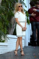 Reese Witherspoon looked lovely wearing a white jewelled dress from her own collection at draperjames.com, when she attended the CFDA/Vogue Fashion Fund Show in Los Angeles October 2015. Celebrity fashion | star style | events
