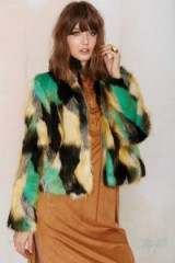 Heating Up Faux Fur Jacket. 70s style jackets – warm winter coats – multicoloured fluffy outerwear