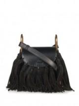 CHLOÉ Hudson mini suede-tassel leather cross-body bag black. Designer handbags – tassels – luxury crossbody bags