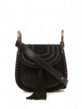 CHLOÉ Hudson small suede cross-body bag black. Designer handbags / luxury crossbody bags