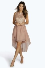 boohoo.com Jess sequin top open back chiffon dip hem dress blush. Party dresses ~ evening fashion ~ going out