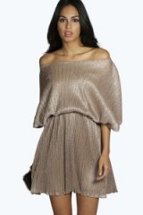 boohoo.com Karina pleated metallic skater dress. Party dresses ~ evening fashion ~ going out glamour