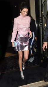 Kendall Jenner in a pink blouse, metallic mini skirt and silver pointed booties, leaving the Shiatzy Chen S/S 2016 show at Paris Fashion Week. Celebrity fashion | star style | Front Row celebrities | style icons | outfits