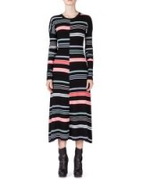 Kenzo Striped Long-Sleeve Midi Dress – as worn by Selena Gomez in New York City, 12 October 2015. Celebrity fashion | star style clothing | designer dresses | what celebrities wear