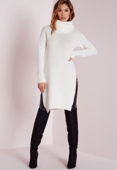 Missguided knitted chunky turtle neck jumper cream – winter