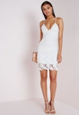 Missguided lace plunge bodycon. Plunging necklines | deep V-neckline dresses | strappy party dress