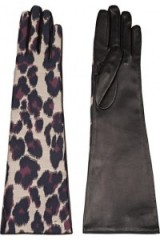LANVIN Leopard-print twill and leather gloves. Elbow length – long animal printed gloves – leopard prints – designer accessories – winter fashion – 50s retro style