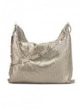 LAURA B metal mesh shoulder bag – metallic handbags – silver metallics