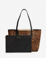 TED BAKER – HALLEY Leather shopper bag tan ~ animal print bags ~ weekend shoppers ~ chic shopping bags ~ clutch bags ~ handbags