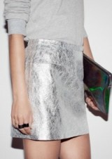 metallic leather mini skirt – silver skirts – metallics
