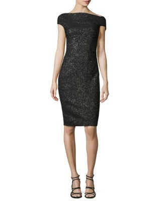 Lela Rose Sparkle Off-the-Shoulder Sheath Dress, Black Metallic – as worn by Zooey Deschanel at Rock The Kasbah NYC premiere, 19 October 2015. Celebrity fashion | star style | designer occasion dresses | what celebrities wear - flipped