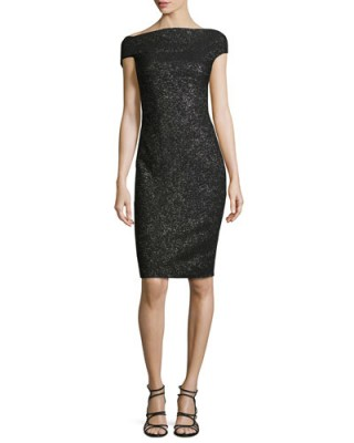 Lela Rose Sparkle Off-the-Shoulder Sheath Dress, Black Metallic – as worn by Zooey Deschanel at Rock The Kasbah NYC premiere, 19 October 2015. Celebrity fashion | star style | designer occasion dresses | what celebrities wear