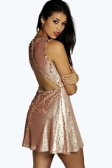 boohoo Lila Sequin Open Back Detail Skater Dress nude. Embellished party dresses ~ going out glamour ~ evening fashion