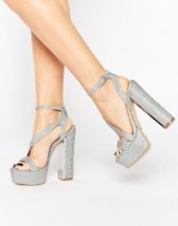 Lipsy Billie Silver Thread Platform Heeled Sandals. party heels – strappy platforms – going out glamour – evening shoes – glamorous footwear