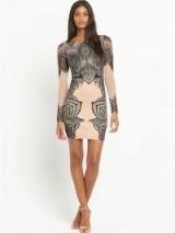 Lipsy Michelle Keegan High Neck Long Sleeve Lace Dress nude/black. Evening dresses – party fashion – going out glamour