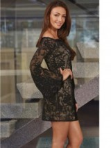 Lipsy Michelle Keegan Lace Bell Sleeve Bardot Dress black. Party dresses – evening fashion – going out glamour