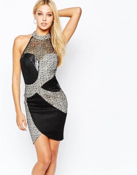 Michelle Keegan Loves Lipsy High Neck Bodycon Dress With Metallic ...