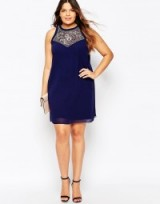 Little Mistress Plus Shift Dress With Embellishment navy. Embellished plus size party dresses – going out glamour – evening wear – occasion fashion