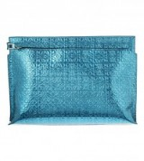 LOEWE Logo embossed large metallic pouch – designer clutch bags – evening handbags – blue metallics