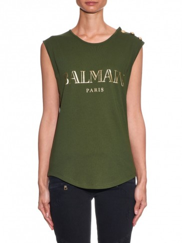 Balmain logo print cotton jersey tank top khaki green for Designer tee shirts womens