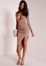 Missguided long sleeve plunge asymmetric hem bodycon dress rose pink – parties – plunging necklines – going out glamour – party dresses – evening fashion