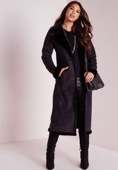 Long Black Shearling Coat | Fashion Women's Coat 2017