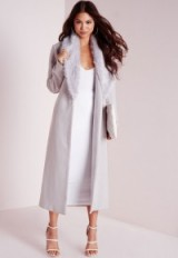 Missguided longline wool coat with faux fur collar grey. Winter outerwear – long coats – warm fashion
