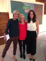 A trio of beauties! Jane Moore in the left has on a Topshop top and River Island trousers. Andrea Mclean on the right has on a top from Warehouse and culottes from This Is Whistles whilst Anita Dobson is wearing a red Marks and Spencer top #looswomen