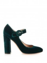 GIANVITO ROSSI Lorraine velvet block-heel pumps emerald green. Designer Mary Janes / luxury Mary Jane shoes / high heels