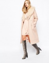 Lost Ink 70's Coat with Faux Fur Collar. pale pink coats – winter outerwear