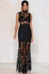Lovecat Lace-Up Your Life Sheer Dress black. Long party dresses – evening wear – semi sheer lace gowns – occasion fashion