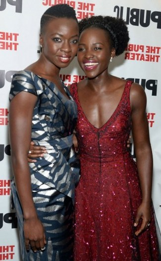 Lupita Nyong'o & Danai Gurira attend the opening night of Eclipsed at The Public Theater in NYC, October 2015. Celebrity fashion | star style | events - flipped