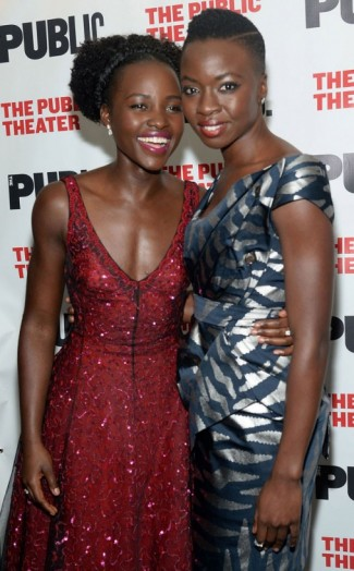 Lupita Nyong'o & Danai Gurira attend the opening night of Eclipsed at The Public Theater in NYC, October 2015. Celebrity fashion | star style | events