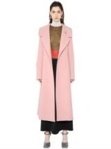 Miranda Kerr's Paris street style, 6 October 2015…MARNI DOUBLE WOOL CREPE COAT in rose pink. Celebrity fashion   designer coats   winter outerwear   star style   what celebrities wear