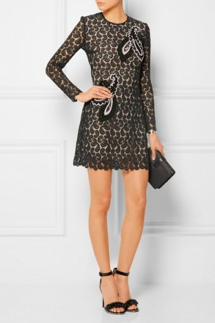 Mart Katranzou Geri embroidered macramé lace mini dress. Paisley macrame ~ semi sheer ~ designer occasion dresses ~ embroidered little black dress - flipped