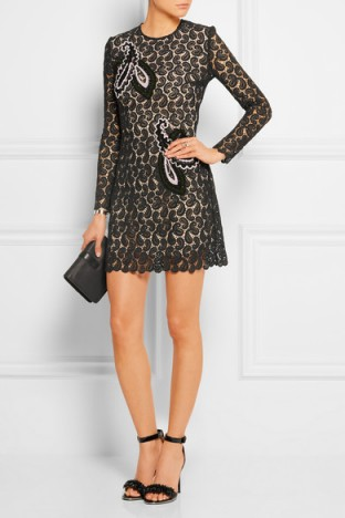Mart Katranzou Geri embroidered macramé lace mini dress. Paisley macrame ~ semi sheer ~ designer occasion dresses ~ embroidered little black dress