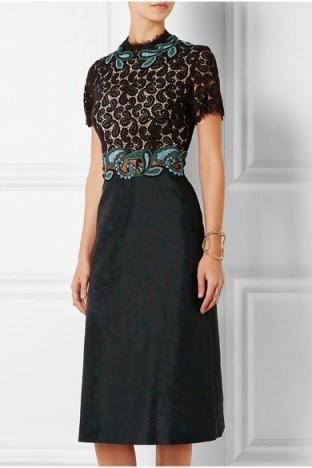 Mary Katrantzou Lamur guipure lace and jacquard midi dress. Designer fashion ~ luxury dresses ~ paisley - flipped