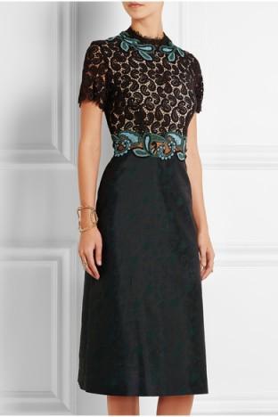 Mary Katrantzou Lamur guipure lace and jacquard midi dress. Designer fashion ~ luxury dresses ~ paisley