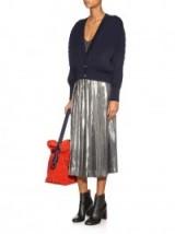 LOEWE Metallic pleated midi skirt – designer skirts – metallics