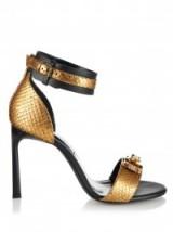 LANVIN Metallic python and leather sandals – embellished designer shoes – gold metallics