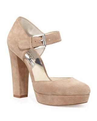 MICHAEL Michael Kors Flynn Suede Platform Mary Jane Pump, Dark Khaki. Mary Janes ~ platforms ~ chunky heel ~ high heels ~ designer shoes - flipped