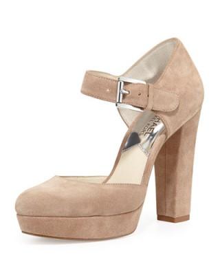 MICHAEL Michael Kors Flynn Suede Platform Mary Jane Pump, Dark Khaki. Mary Janes ~ platforms ~ chunky heel ~ high heels ~ designer shoes