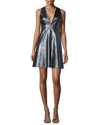 MICHAEL Michael Kors Metallic Jacquard V-Neck Fit & Flare Dress – designer dresses – occasion fashion - flipped