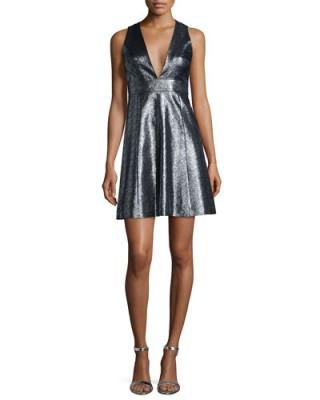 MICHAEL Michael Kors Metallic Jacquard V-Neck Fit & Flare Dress – designer dresses – occasion fashion