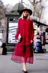red knits & sheer fabrics ~ autumn street style
