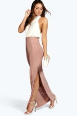 boohoo Mollie Contrast Colour Slinky Maxi Dress mauve. Evening dresses ~ party fashion ~ going out glamour
