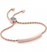 MONICA VINADER Linear 18ct rose gold-plated and pavé diamond toggle bracelet ~ friendship bracelets ~ jewellery