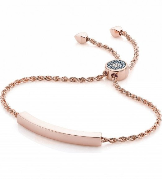 MONICA VINADER Linear 18ct rose gold-plated and pavé diamond toggle bracelet ~ friendship bracelets ~ jewellery - flipped