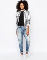 Monki Metallic Bomber Jacket – silver jackets – metallics