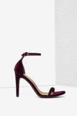 Nasty Gal Ivy Velvet Heel purple. High heels – evening shoes – ankle strap footwear – going out accessories – party wear